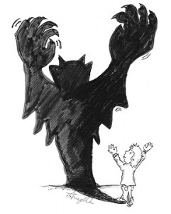 cartoon of boy and scary shadow
