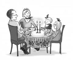 Cartoon of Family at Dinner Table