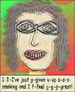 Wavy Cartoon of Woman Who Recently Quit Smoking