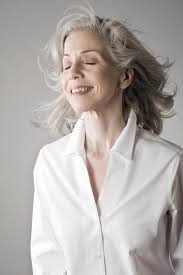 White Woman With Gray Hair Smiling